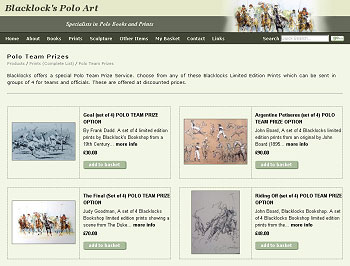 Products Page of Blacklocks Polo Art