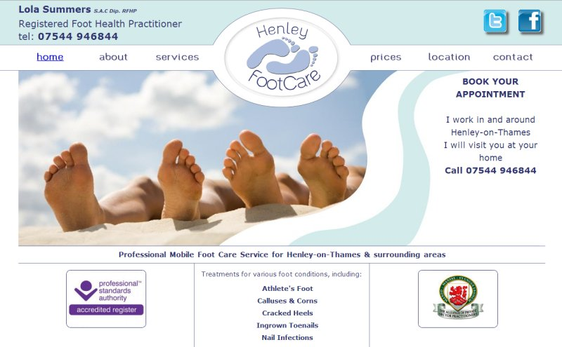 Henley Footcare Website Screenshot