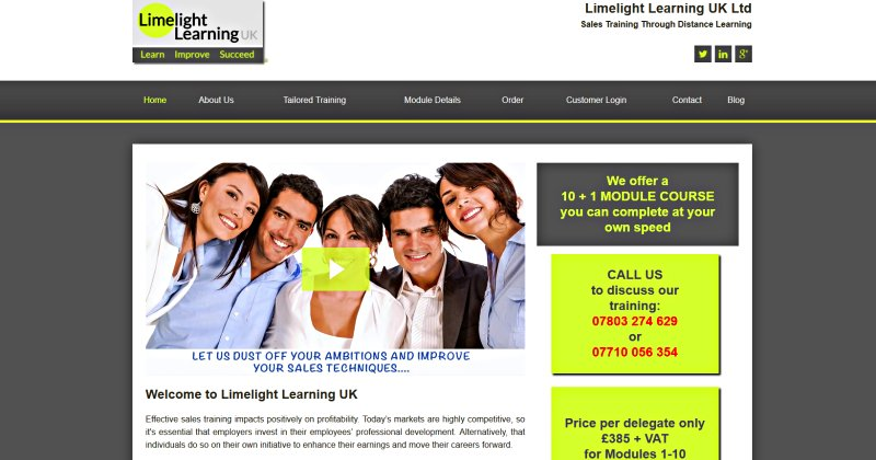 Limelight Learning UK - Online Sales Training Website Screenshot