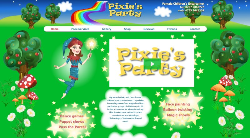 Pixie's Party - Children's Entertainer Website Screenshot