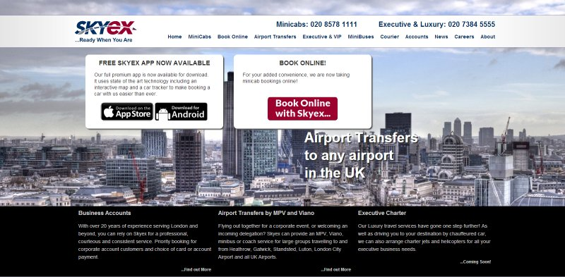 Skyex - London Minicab Website Screenshot