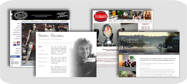 Collage of Websites. Bucaroo, Lovibonds, Simon Benson and Reachview Bed & Breakfast